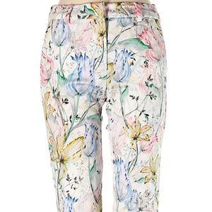 H & M white/ivory floral dress pants SZ 10